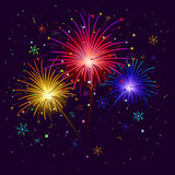 Holiday Firework Background. Firework, Bright Color Flashes, Sparks, Stars and Streamers on Black Background, Element for Web Holiday Design. Vector Stock Images