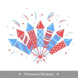 Vector holiday firework. Set of rockets or firecrackers. Holiday firework. Independence day of America Stock Photos