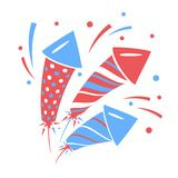 Vector holiday firework. Set of rockets or firecrackers Royalty Free Stock Images