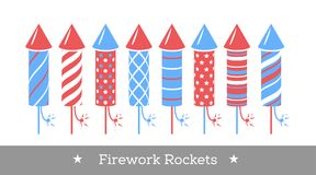 Vector holiday firework. Set of rockets or firecrackers. Holiday firework. Independence day of America Stock Images