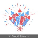 Vector holiday firework. Set of rockets or firecrackers. Holiday firework. Independence day of America Royalty Free Stock Photos