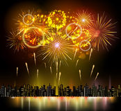 Holiday firework and night city. Vector holiday firework and night city Stock Image