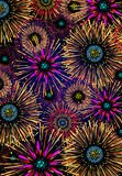 Holiday fireworks. Illustration of different fireworks and sparkling stars lighting up the sky Stock Images