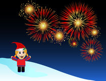 Holiday Fireworks. A festive cartoon female watches fireworks. Ring in 2010 with this fun illustration Stock Photos