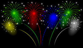 Holiday fireworks on a black background. Vector  illustration Stock Photos