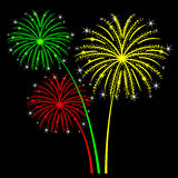 Holiday fireworks on a black background. Vector  illustration Royalty Free Stock Photo