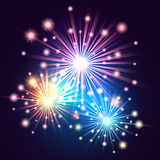 Holiday Fireworks. Bright fireworks colorful illustration. Holiday Salute in the night sky Royalty Free Stock Photography
