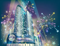 Holiday fireworks in the city. Night background with modern city buildings and holiday fireworks vector illustration