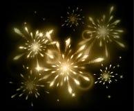 Holiday fireworks on dark background. Vector illustration Stock Photos