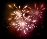 Holiday fireworks on dark background. Vector illustration Stock Image