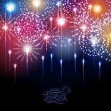 Holiday fireworks. Illustrtion of fetivl colorful  holiday fireworks Royalty Free Stock Photos