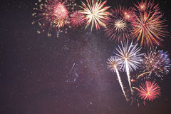 Holiday Fireworks in Night Sky Royalty Free Stock Images