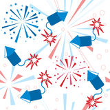 Holiday fireworks seamless pattern. Vector illustration Royalty Free Stock Photo
