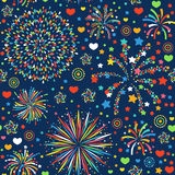 Holiday fireworks seamless pattern abstract design background celebration decoration bright texture vector illustration. Colorful birthday event wallpaper Stock Image