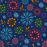 Holiday fireworks seamless pattern background. Vector holiday fireworks seamless pattern background with hand dralements Royalty Free Stock Images