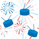 Holiday fireworks seamless pattern with drums Royalty Free Stock Photos