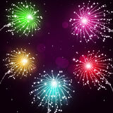 Holiday Fireworks Show. Holiday bright multicolor celebration pyrotechnics show at night Stock Photos