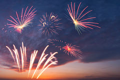 Holiday fireworks in the sky Royalty Free Stock Photos