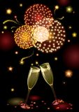 Holiday fireworks. Vector holiday background with two Champagne Flutes, many stars and fireworks Royalty Free Stock Photo