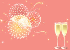 Holiday fireworks. Vector holiday background with two Champagne Flutes, many stars and fireworks on pink background Royalty Free Stock Images