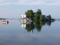 Holiday fishing. Early morning fishing on the St. Lawrence River stock photos