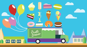 Holiday flat art wagon with ice-cream and sweets Stock Photos