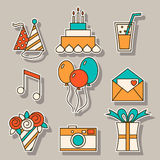 Holiday flat icons, festive signs and symbols Royalty Free Stock Image
