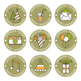 Holiday flat icons, happy birthday, set. Cake, balloons, flowers, gift, and other festive design elements Royalty Free Stock Photography