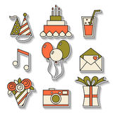 Holiday flat icons, happy birthday, set. Cake, balloons, flowers, gift, and other festive design elements Royalty Free Stock Photos