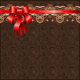 Holiday floral background with red ribbon Royalty Free Stock Image
