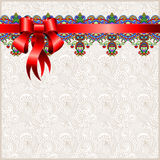 Holiday floral background with red ribbon Royalty Free Stock Photos
