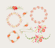 Holiday floral designs, wreaths, ribbons Stock Photography
