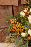 Holiday flower bouquet inside a gourd vase Stock Photography