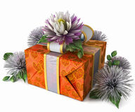 Holiday flowers with gift box Royalty Free Stock Image