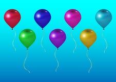 Vector holiday illustrations of flying realistic glossy balls. stock illustration