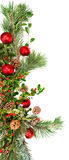 Holiday foliage border. Holiday garland with red ornaments, pine & spruce branches, pine cones and evergreen with berries (Common Bearberry/Kinnikinnick stock image