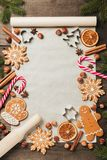 Holiday food background for baking gingerbread cookies. Vintage paper sheet for christmas recipe. Text space, top view. Holiday food background for baking stock photo