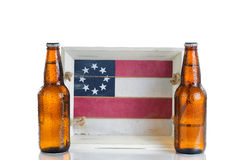 Holiday food and drink serving tray with cold beer isolated on w Royalty Free Stock Images