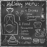 Holiday Food Menu set hand drawn on chalkboard Res Royalty Free Stock Images
