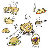 Holiday Foods Icon Set. An image of a holiday foods stock illustration