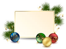 Holiday frame. Background with card and Christmas balls, illustration Stock Photos