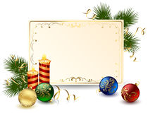 Holiday frame with candle Stock Photo