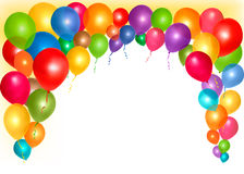 Holiday frame with colorful balloons Stock Image