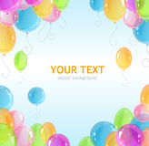 Holiday frame with colorful balloons Stock Photo