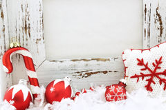 Holiday frame with decoration and copy space. White wood frame with christmas decoration and copy space Royalty Free Stock Image