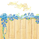 Holiday frame with flowers and ribbon bow Stock Photos