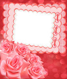 Holiday frame for photo with rose Stock Images