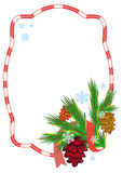 Holiday frame with pine branch, snow-flakes and cones. Stock Photos
