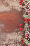 Holiday frame with pine cones Stock Photos