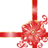 Holiday frame with pink bow Royalty Free Stock Images